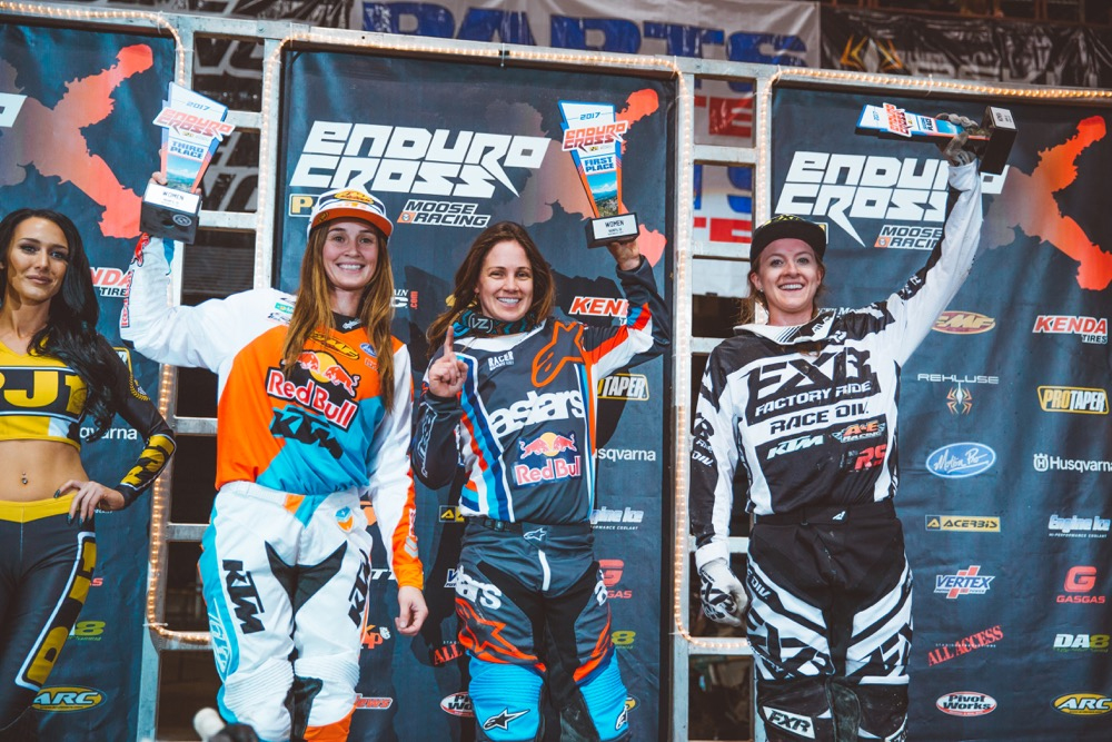 Tarah Gieger (center), Shelby Turner (right) and Kacy Martinez (left) shared the podium at Boise EnduroCross. | Photography: Tanner Yeager