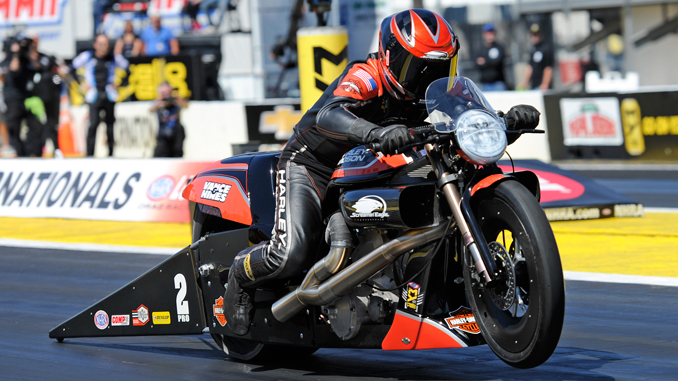 NHRA Pro Stock Motorcycle Ed Krawiec action