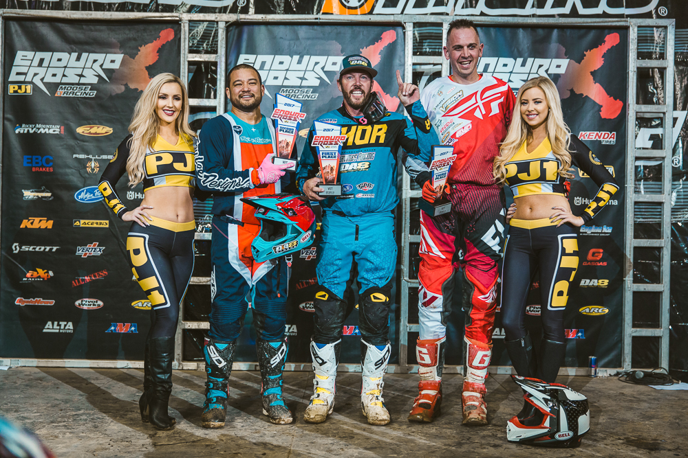 Endurocross - Destry Abbott (center) earned the Ontario win and 2017 Vet class championship. Photography: Tanner Yeager