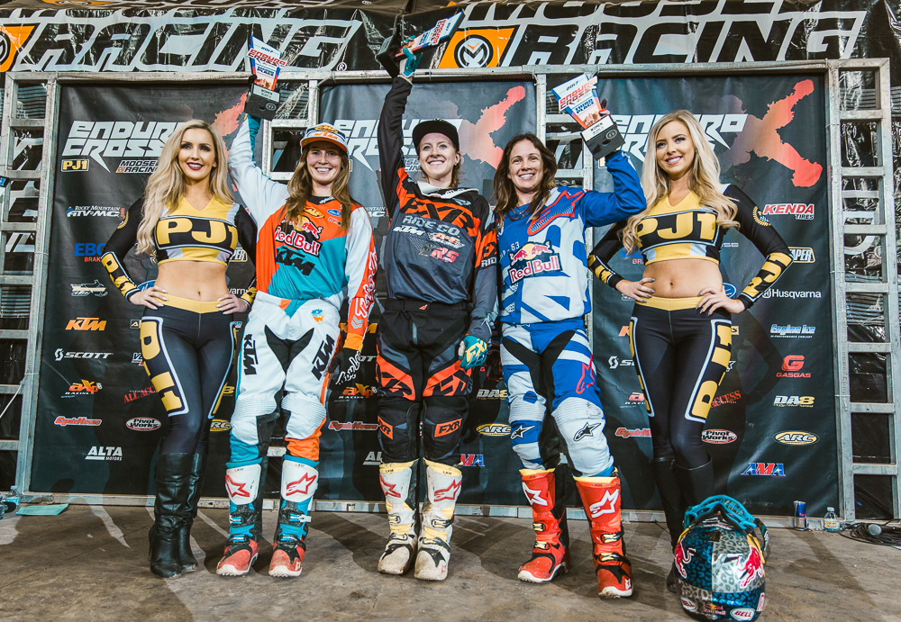 Shelby Turner (center), Kacy Martinez (left) and Tarah Gieger (right) shared the podium in Ontario and also finished the season championship in the same order. Photography: Tanner Yeager
