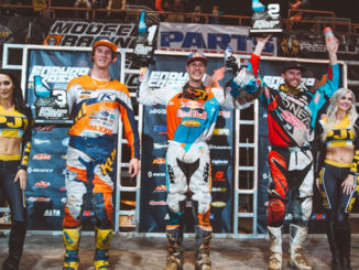 Webb (center), Graffunder (right) and Tremaine took the Boise EnduroCross Podium. Photography: Tanner Yeager