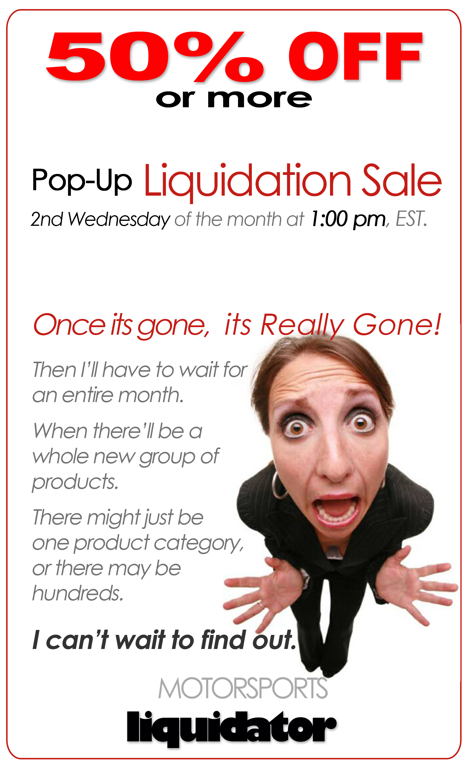 Pop-Up Liquidation Sale - MotorSports Liquidator