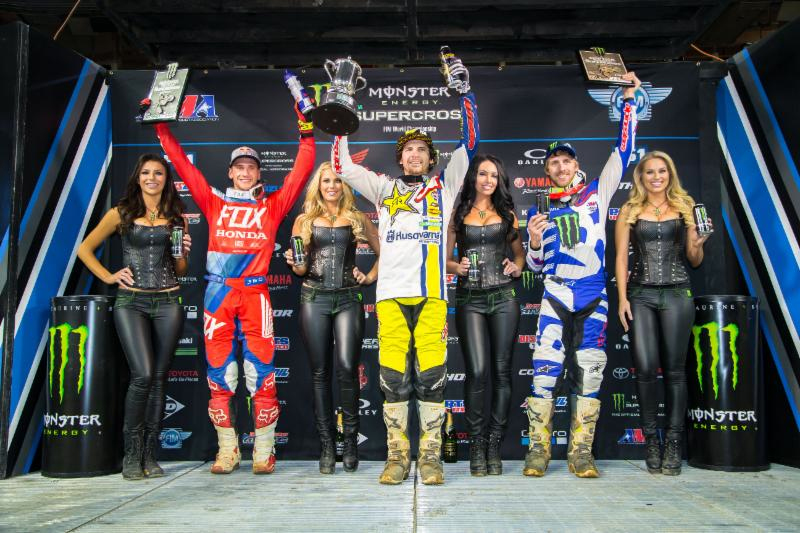 Houston's 450SX Class podium at the second round of the 2018 Monster Energy Supercross Championship. Photo credit: Feld Entertainment, Inc.