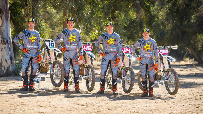 2018 Rockstar Energy Husqvarna Factory Racing Offroad team, Colton Haaker, Dalton Shirey, Josh Strang, and Thad Duvall. Photo by S. Cudby