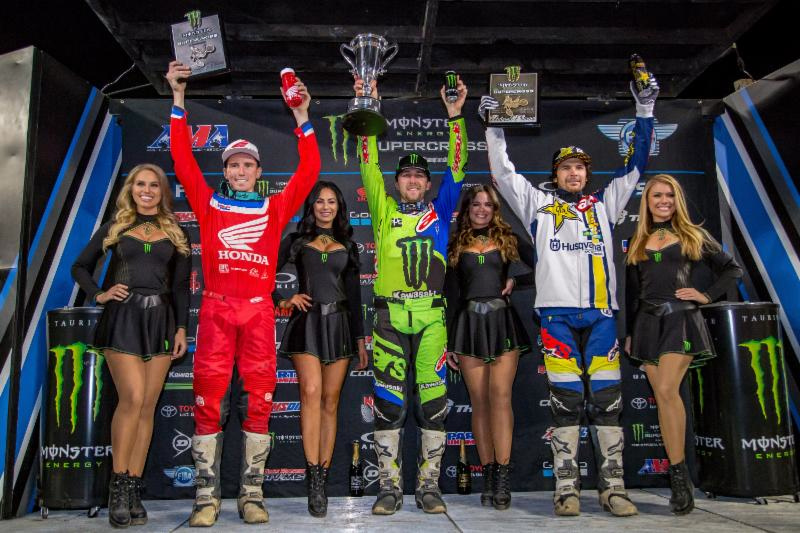 Eli Tomac takes the overall win in the first-ever Monster Energy Supercross Triple Crown at Angel Stadium on January 20. Photo credit: Feld Entertainment, Inc.
