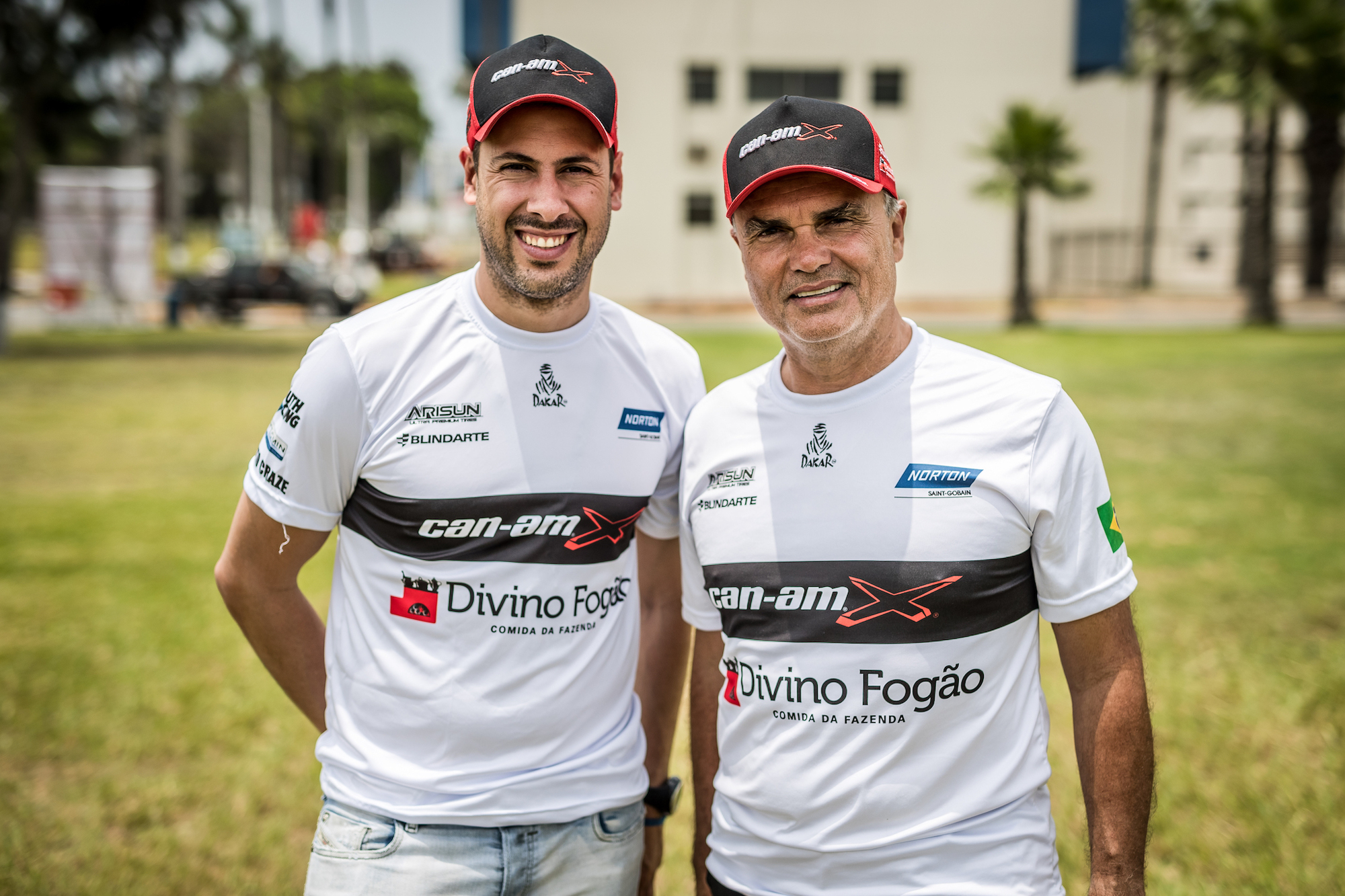 (From left) Gustavo Gugelmin and, driver of record, Reinaldo Varela won the SxS category in their South Racing Can-Am Maverick X3 at the 2018 Dakar Rally in South America.