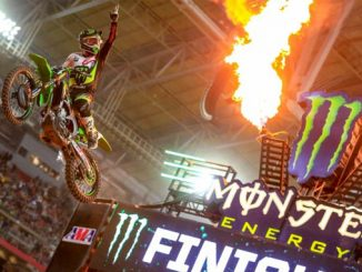 Eli Tomac crosses the finish line jump in first at Round 4 of the Monster Energy Supercross in Glendale. Photo credit: Feld Entertainment, Inc.