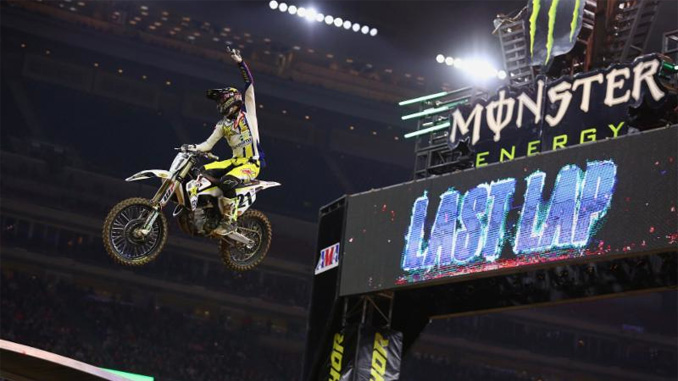 Jason Anderson captures his first win of 2018 at the second round of the 2018 Monster Energy Supercross Championship in Houston. Photo credit: Feld Entertainment, Inc.
