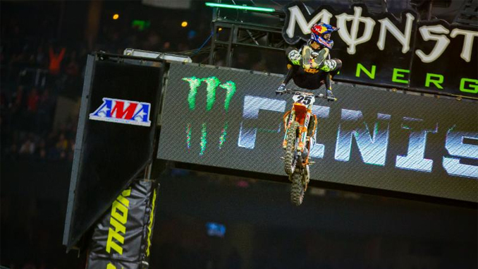 Monster Energy Supercross: Marvin Musquin celebrates his victory with his iconic heel clicker. Photo credit Feld Entertainment, Inc