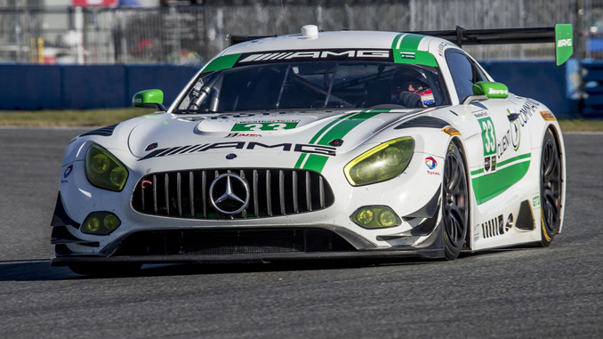 The No. 33 Mercedes AMG Team Riley Motorsports Mercedes AMG GT3