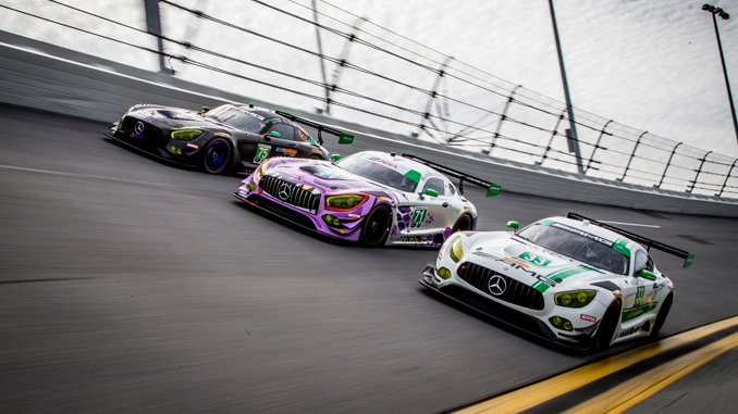 Three Mercedes-AMG GT3 race cars practiced at the IMSA Road Before the Rolex 24