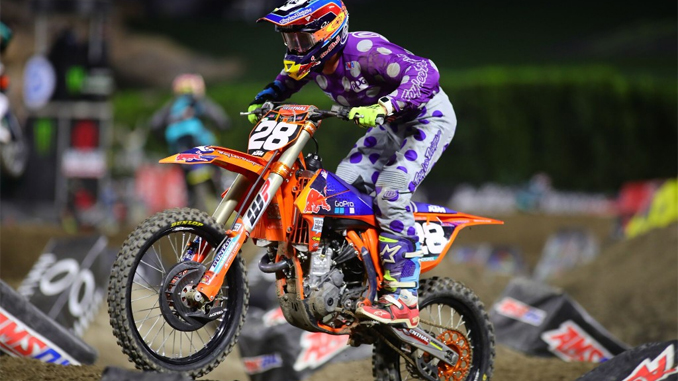 Troy Lee Designs /Red Bull/KTM's McElrath Takes Over Points Lead With Podium Finish in Anaheim