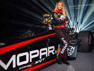 Mopar and Dodge//SRT will take primary placement on Don Schumacher Racing driver Leah Pritchett's 330-plus mph NHRA Top Fuel Dragster at seven of 23 events on the 2018 NHRA schedule.