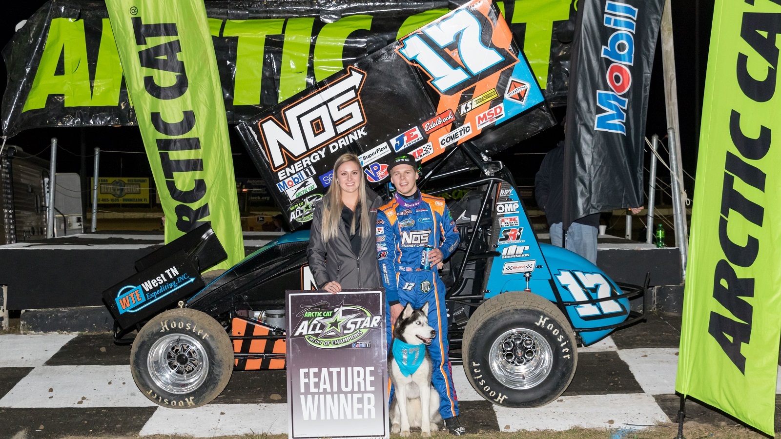 Sheldon Haudenschild celebrates All Star victory with family at Bubba Raceway Park - Vince Vellella Photo Credit
