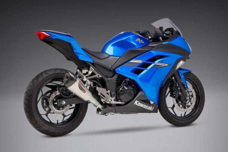 2013-17 Kawasaki Ninja 300 with Alpha T Street Series - Works Finish stainless slip-on