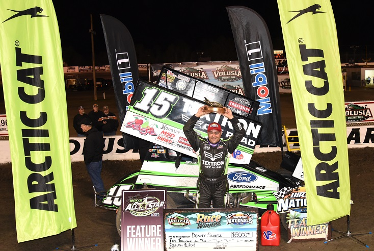 Donny Schatz holds up another gator in Volusia Speedway Park victory lane | Paul Arch Photo Credit