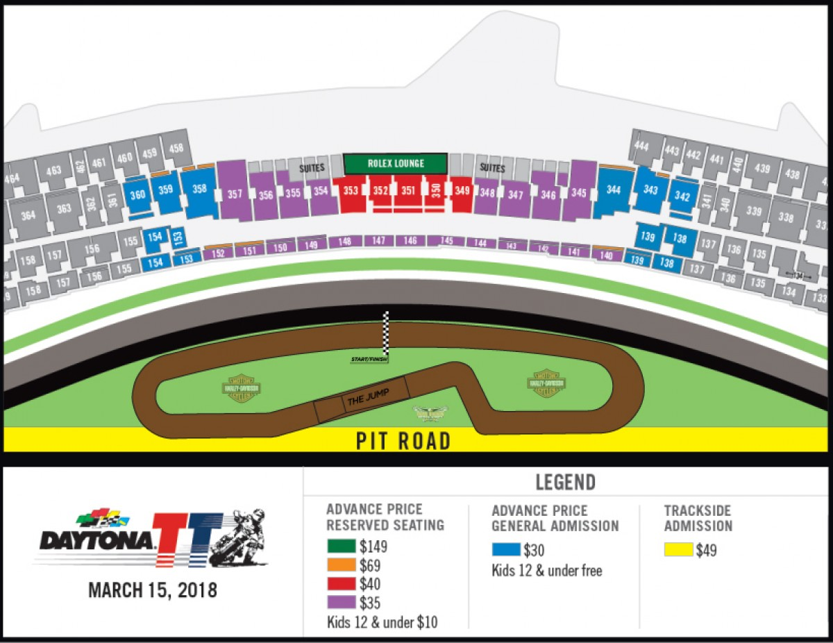 2018 DAYTONA TT Track and seating chart