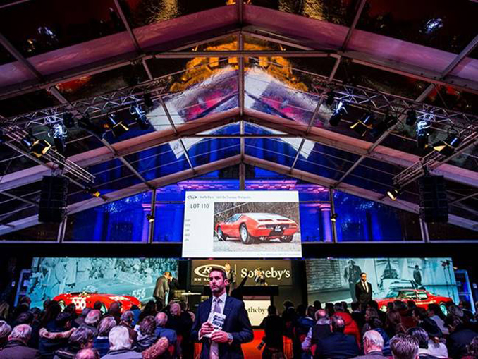 A view of the packed auction marquee at RM Sotheby's Paris sale