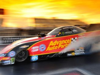 Courtney Force powered to the top of the Funny Car class at Friday's NHRA Nitro Spring Training at Wild Horse Pass Motorsports Park located outside of Phoenix.