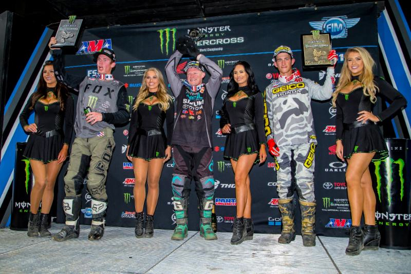 Justin Hill scored his first 250SX Main Event win of 2018 with Adam Cianciarulo and Chase Sexton rounding out the top three. Photo credit: Feld Entertainment, Inc.