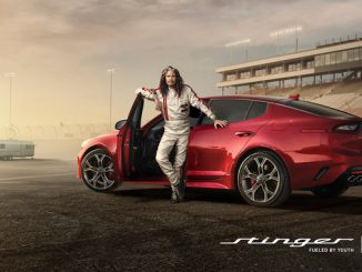 Steven Tyler hits the racetrack in Kia's Super Bowl ad for the all new Stinger sportback sedan