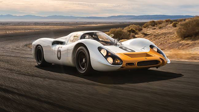 The 1968 Porsche 908 Works 'Short-Tail' Coupe takes to the track before its offering at RM Sotheby's Monterey sale this August (Credit – Robin Adams © 2018 Courtesy of RM Sotheby's)