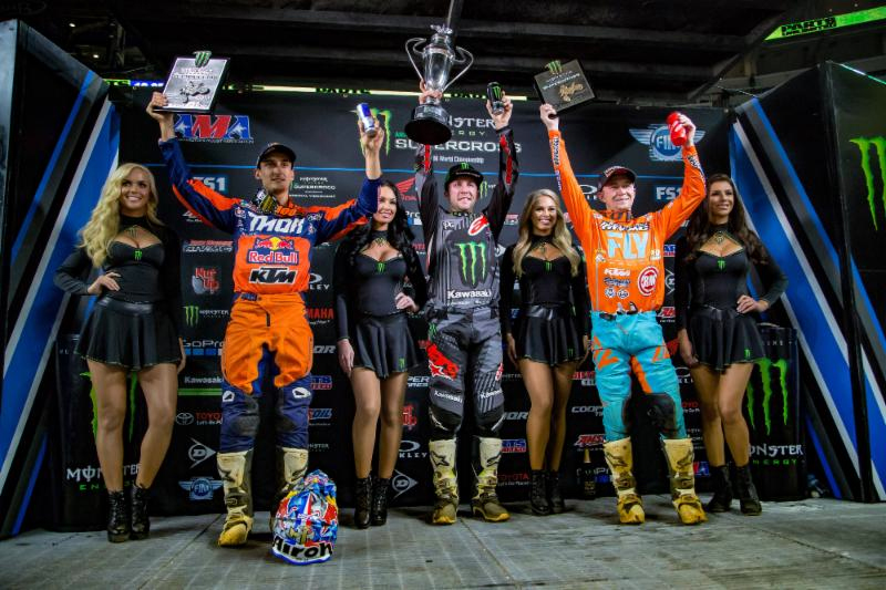Tomac tops the 450SX Class podium for the third time in 2018 at Round 7 of the Monster Energy Supercross in Arlington, Texas. Photo credit: Feld Entertainment, Inc.
