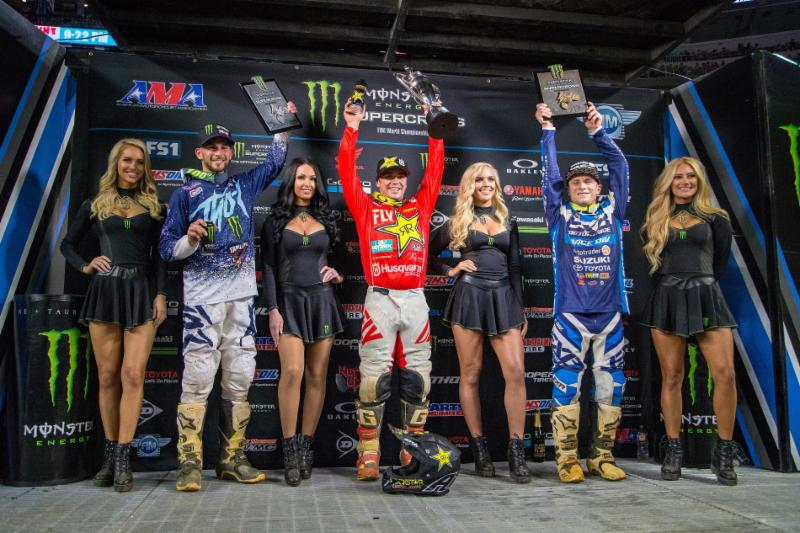 Monster Energy Supercross season opener - Eastern Regional 250SX Class Championship podium - Photo-credit - Feld-Entertainment Inc