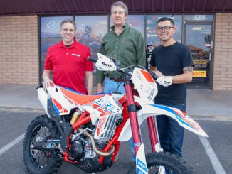 L-R - On Any Moto Owner Michael Battaglia - grand prize winner Cliff Reed - Beta Motorcycle -On Any Moto Sales Manager James Bautista