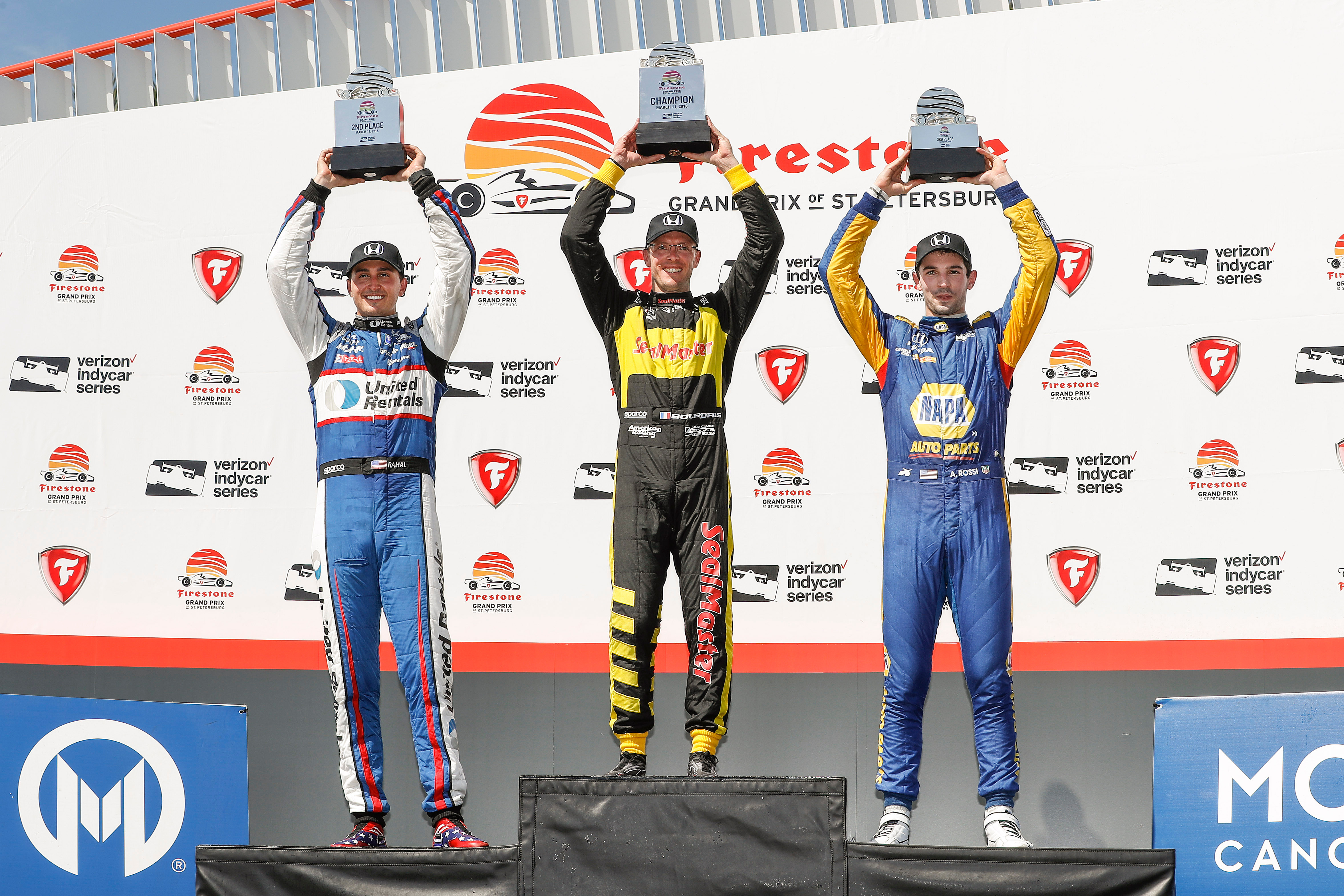Honda drivers swept the St. Petersburg podium, with winner Sebas