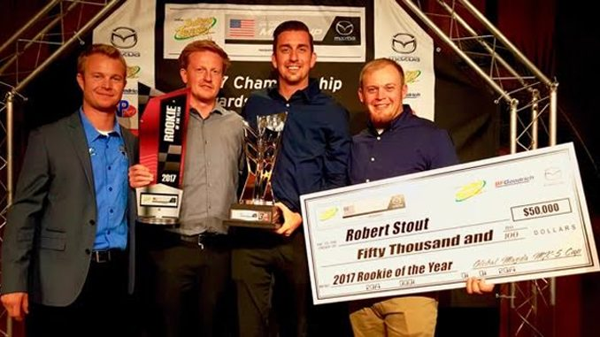 From left to right- Chad McCumbee Stevan McAleer Robert Stout Car Chief Clay Smith - Ken Stout Racing