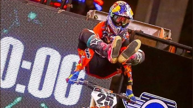 Marvin Musquin celebrates his 450SX Class win at Round 12 in Indianapolis. Photo credit: Feld Entertainment, Inc.