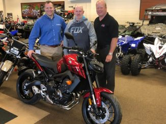 2017 AMA Member sweepstakes winner Bill Sellers picking up his 2017 Yamaha FZ-09