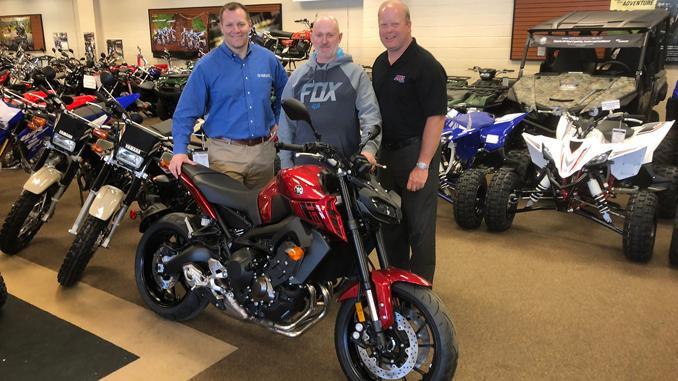 2017 AMA Member sweepstakes winner Bill Sellers picking up his 2017 Yamaha FZ-09