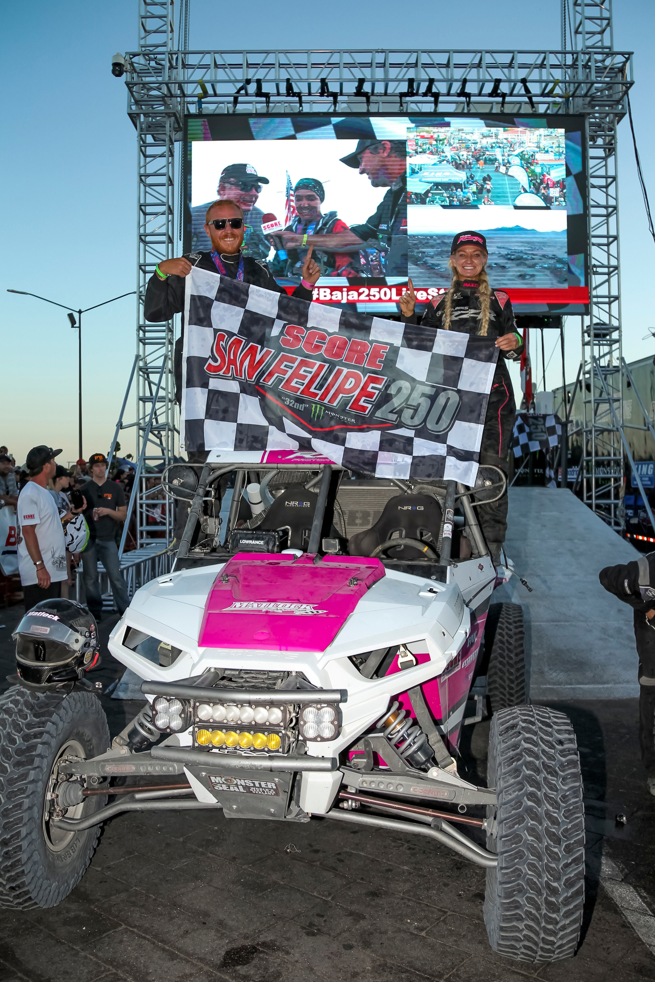 Polaris RZR Factory Racing - Kristen Matlock and Co-Driver Matthew Strandberg celebrate their victory