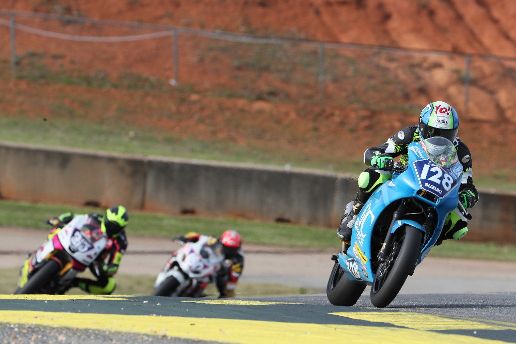 Chris Parrish won the first-ever MotoAmerica Twins Cup race at Road Atlanta after a battle with Jason Madama (213). Photo by Brian J. Nelson