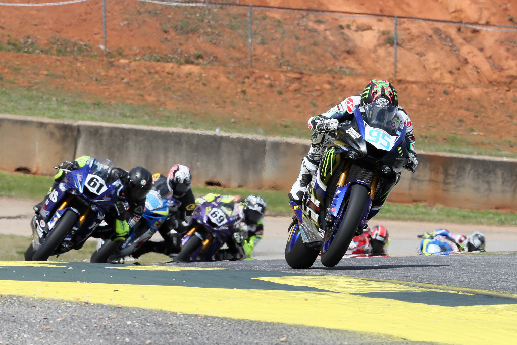 JD Beach led very lap of the red-flag interrupted Supersport race over Hayden Gillim (69). Anthony Mazziotto III ended up eighth. Photo by Brian J. Nelson