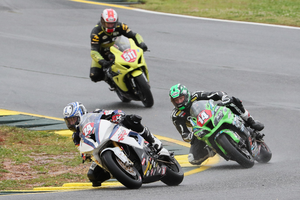 Road Atlanta - Travis Wyman (24) won the first-ever MotoAmerica Stock 1000 race, besting Andrew Lee (14) and Timothy Bemisderfer (511). Photo by Brian J. Nelson