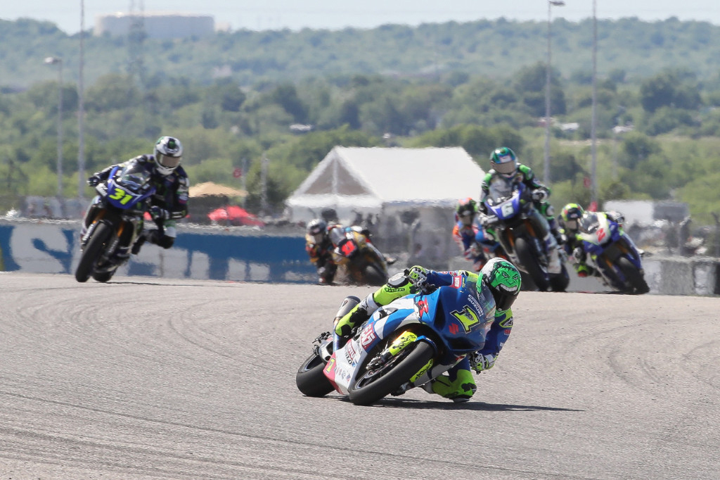 Yoshimura Suzuki's Toni Elias had his COTA win streak snapped yesterday in the rain, but today he came back to win his fifth MotoAmerica Motul Superbike race in Texas.| Photo by Brian J. Nelson