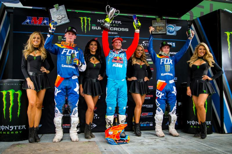 2018 Monster Energy Supercross 250 podium in Salt Lake City