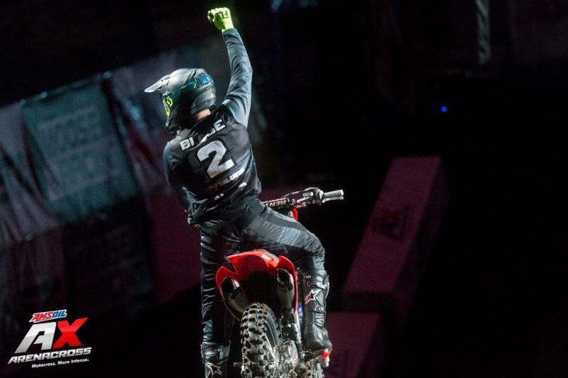 Chris Blose carries a four-point lead after grabbing the AMSOIL Arenacross overall win in Portland Oregon