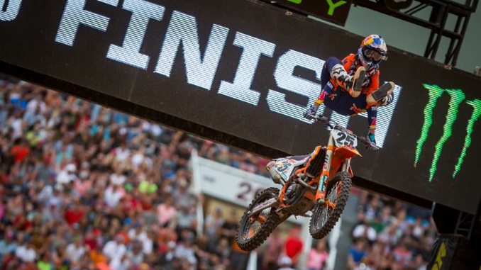 Marvin Musquin celebrates his fourth 450SX Class win in Salt Lake City