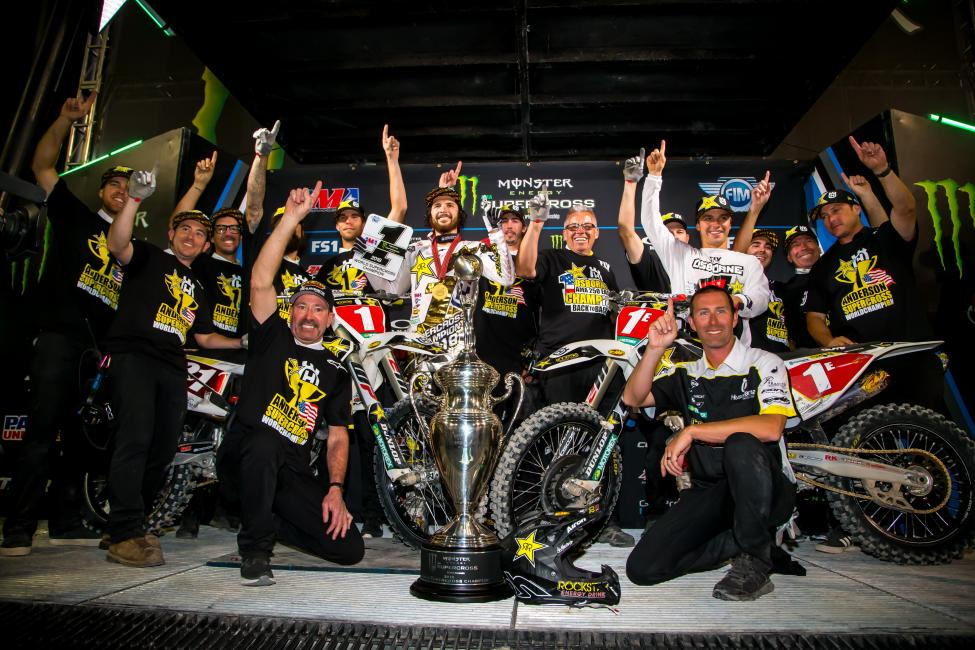 Jason Anderson and Zach Osborne took home the number one plates for Rockstar Energy Husqvarna Factory Racing. - Rich Shepherd