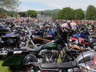 A sea of motorcycles along the shore of Lake George during 2017 Americade. Photo courtesy of Americade