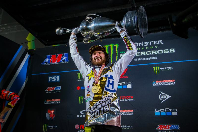 Jason Anderson captured his first-career 450SX Class Championship at the final round of the 2018 Monster Energy Supercross season in Las Vegas on May 5. Photo credit: Feld Entertainment, Inc.
