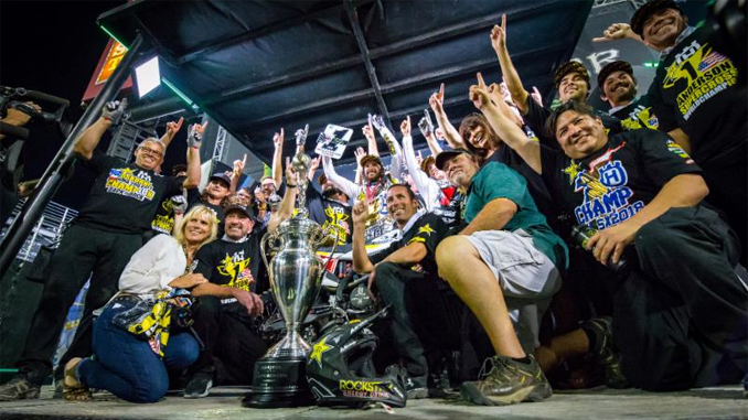 Jason Anderson captured his first-career 450SX Class Monster Energy Supercross Championship at the final round in Las Vegas on May 5. Photo credit: Feld Entertainment, Inc.