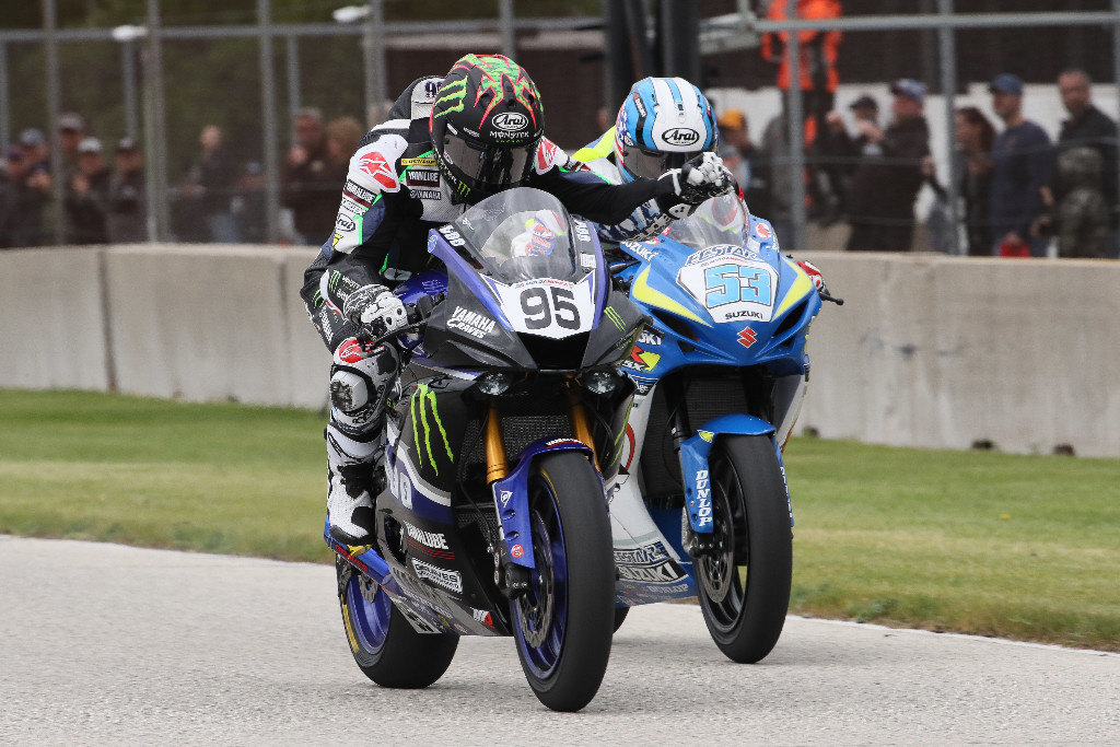 JD Beach (95) barely beat Valentin Debise (53) to win the Supersport race on Sunday at Road America.|Photo by Brian J. Nelson