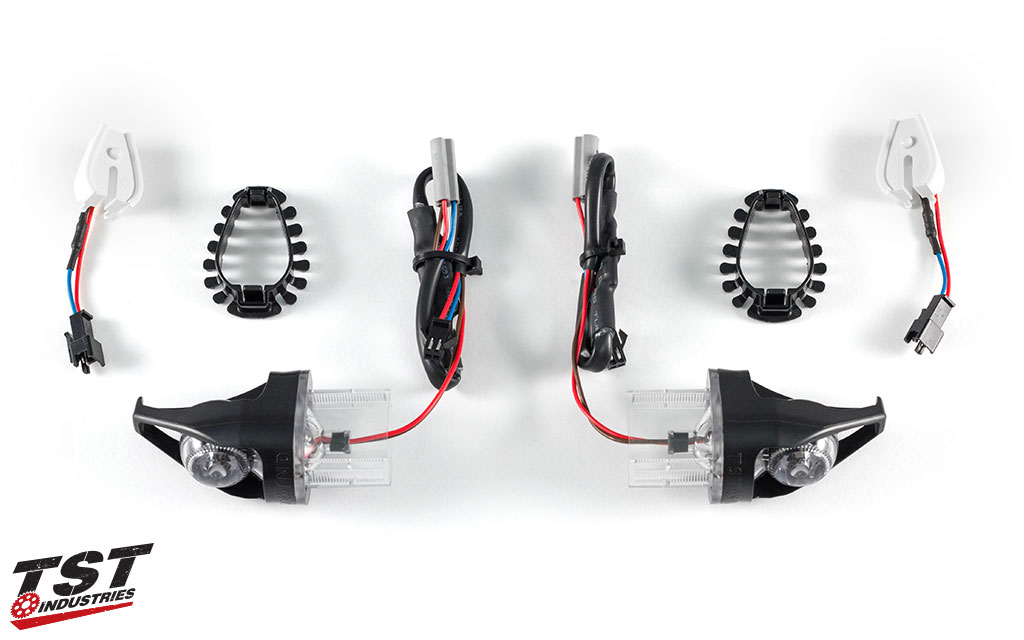 What's included with a customer's purchase of the TST MECH-GTR Front LED Turn Signals.