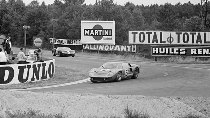 Chassis P-1016 leads another GT40 in the legendary 1966 24 Hours of Le Mans race