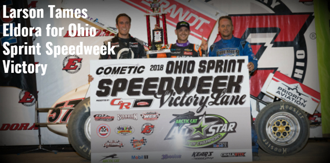 Kyle Larson Cometic Gasket Ohio Sprint Speedweek presented by C&R Racing victory at The Big E